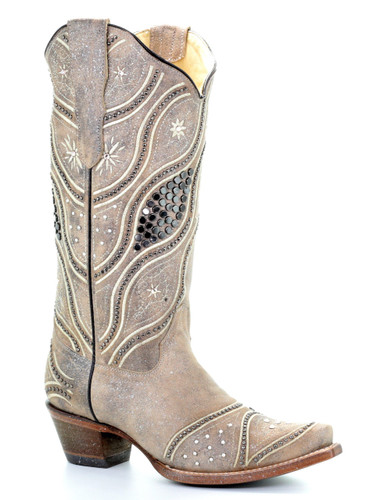 Corral Brown Embroidery and Studs Boots E1275 Picture