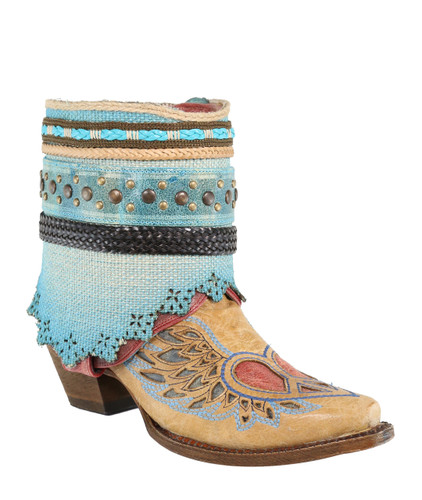 Corral Sand Flipped Shaft Wing and Heart Jute Rug Ankle Boot A3462 Image