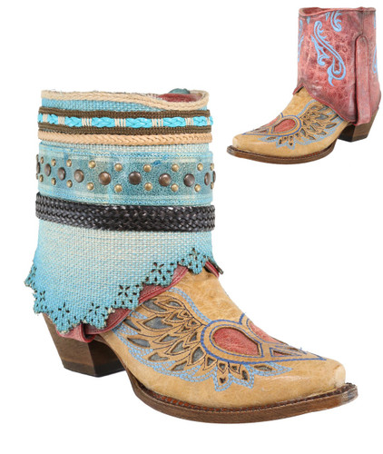 Corral Sand Flipped Shaft Wing and Heart Jute Rug Ankle Boot A3462 Reversible Picture