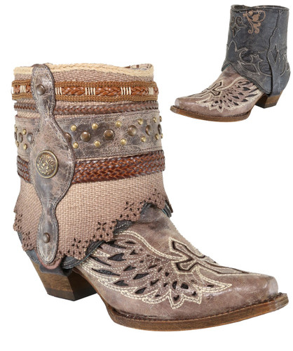 Corral Tobacco Flipped Shaft Wing and Cross Jute Rug Ankle Boot A3459 Photo