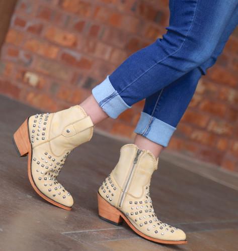 Liberty Black Fiona Short Studded Zipper Beige Boots LB71301 Image