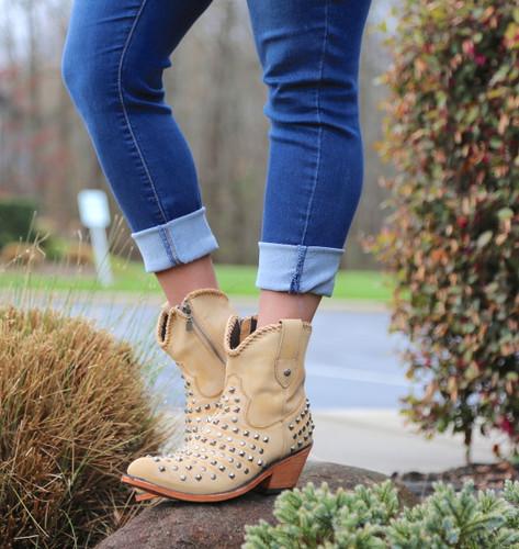 Liberty Black Fiona Short Studded Zipper Beige Boots LB71301 Picture