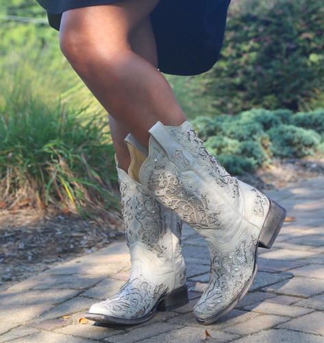 Corral White Glitter Inlay and Crystals Square Toe Boots A3397 Picture