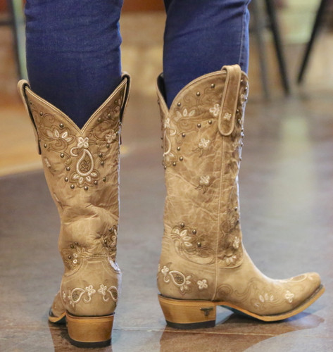 Lane Sweet Paisley Bone Boots LB0349B Heel