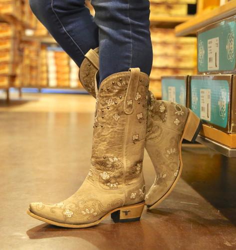Lane Sweet Paisley Bone Boots LB0349B Photo
