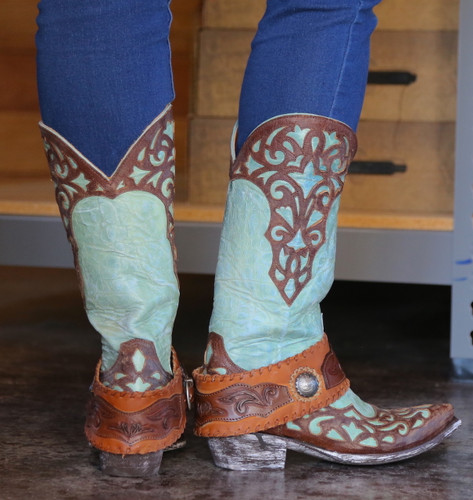Old Gringo Josefhine Aqua Boots L2848-1 Heel