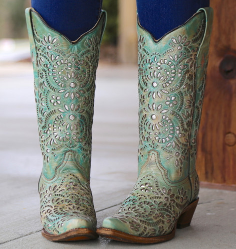 Corral Blue Glitter Inlay and Embroidery Boots A3353 Image