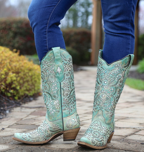 Corral Blue Glitter Inlay and Embroidery Boots A3353 Photo