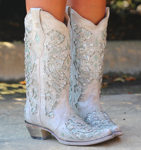 Corral Green Glitter Inlay and Crystals Boots A3321 Picture