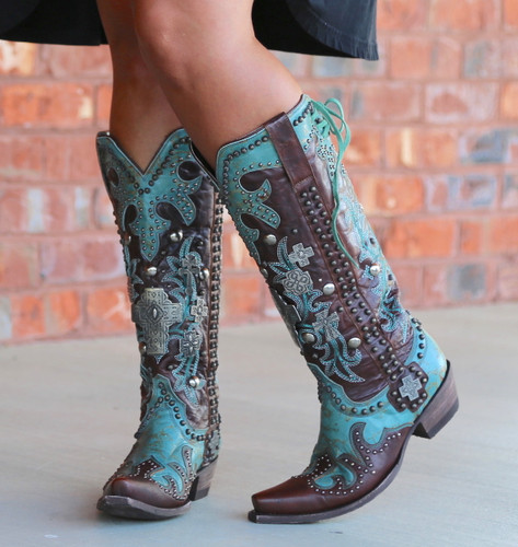 Double D by Old Gringo Ammunition Turquoise Boots DDL001-1 Toe