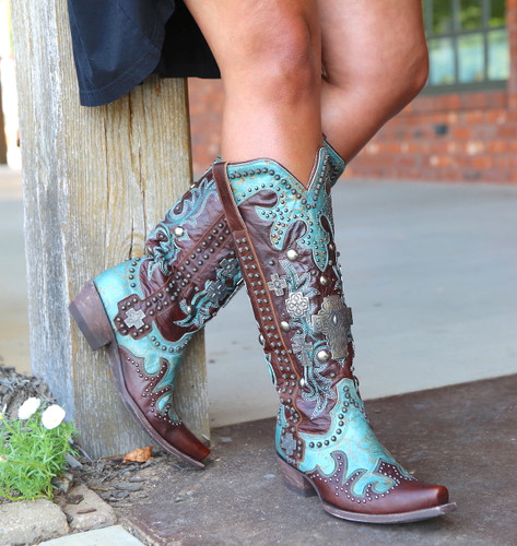 Double D by Old Gringo Ammunition Turquoise Boots DDL001-1 Cross