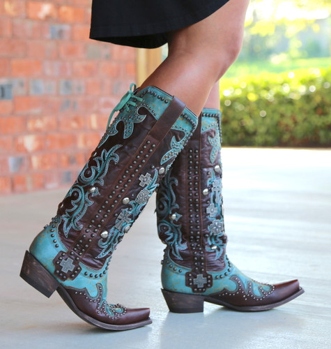 Double D by Old Gringo Ammunition Turquoise Boots DDL001-1 Side