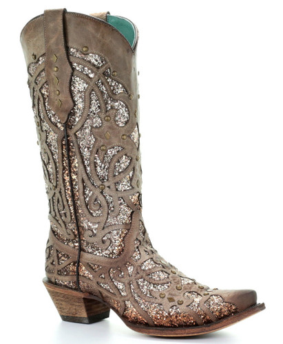 Corral Orix Glittered Inlay and Studs Snip Toe Boots C3331 Photo