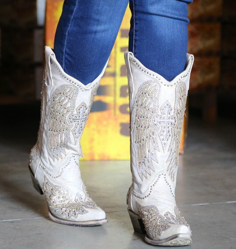 Corral Glitter Cross and Wings White Boots A3571 Photo