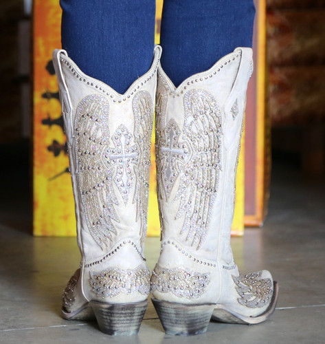 Corral Glitter Cross and Wings White Boots A3571 Heel