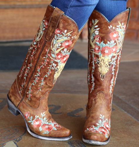 Corral Tan Deer Skull and Floral Embroidery Boots A3620 Image