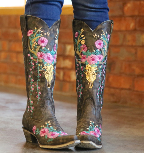 Corral Brown Deer Skull and Floral Embroidery Boots A3621 Toe