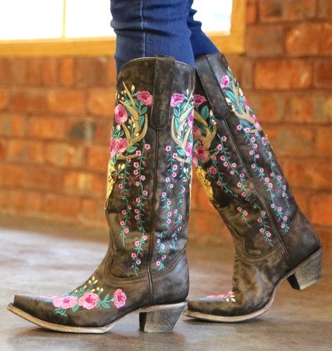 Corral Brown Deer Skull and Floral Embroidery Boots A3621 Walk