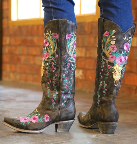 Corral Brown Deer Skull and Floral Embroidery Boots A3621 Heel