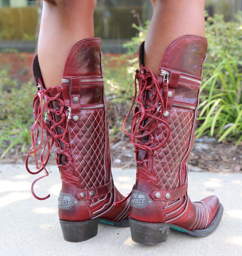 Lane Boots Zip It Red Moto Zipper LB0377A Lace