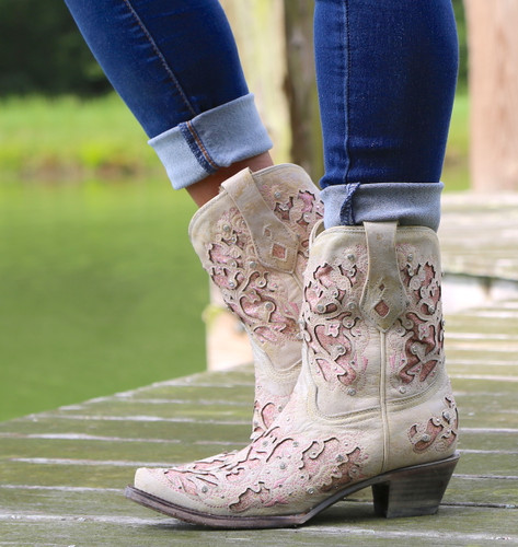 Corral Pink Glitter Inlay and Crystals Ankle Boot A3558 Picture