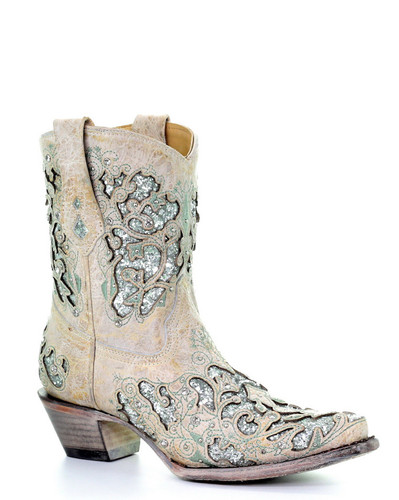 Corral White Green Glitter Inlay and Crystals Ankle Boot A3557 Picture
