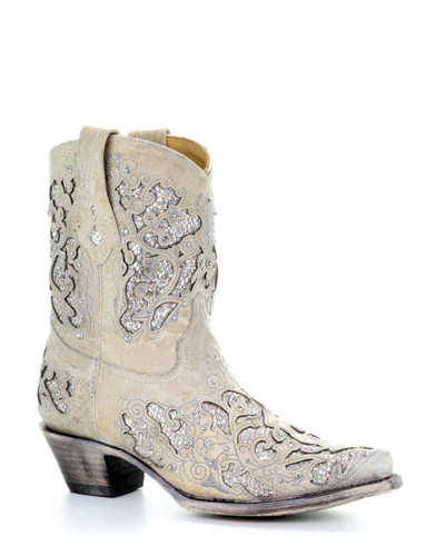 Corral White Glitter Inlay and Crystals Ankle Boot A3550