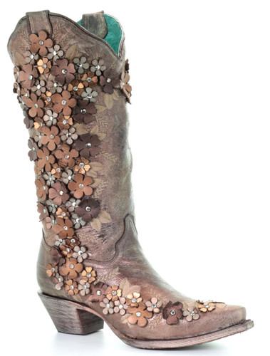 Corral Tobacco Floral Overlay Embroidery Studs Crystals Boots A3602 Picture