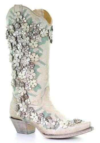 Corral White Floral Overlay Embroidery Studs and Crystals Boots A3600 Picture