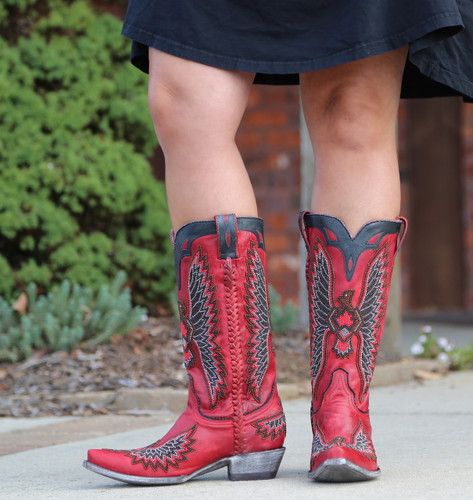 Old Gringo Eagle Chaquira Red Black Boots L1567-21 Picture