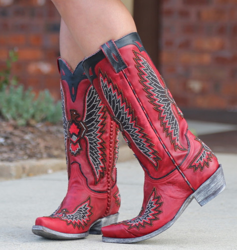 Old Gringo Eagle Chaquira Red Black Boots L1567-21 Image
