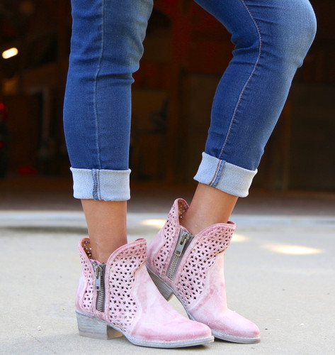 Corral Pink Cutout Shortie Boots Q5062 Image