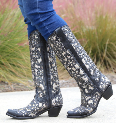 Corral Black Full Inlay and Studs Tall Top Boots A3590 Side