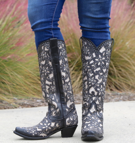 Corral Black Full Inlay and Studs Tall Top Boots A3590 Image
