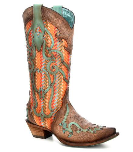 Corral Tan Orange Overlay Embroidery Studs Boots C3386 Picture