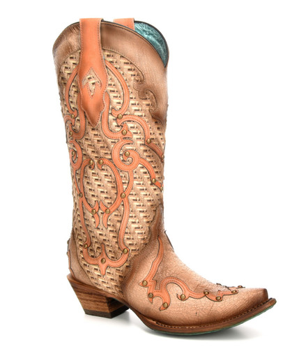 Corral Bone Overlay Embroidery Studs Boots C3387 Picture