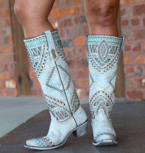 Corral Turquoise Inlay Harness Studs Tall Top Boots A3595 Side