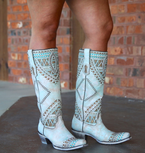 Corral Turquoise Inlay Harness Studs Tall Top Boots A3595 Image