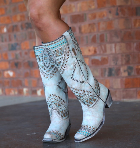 Corral Turquoise Inlay Harness Studs Tall Top Boots A3595 Picture