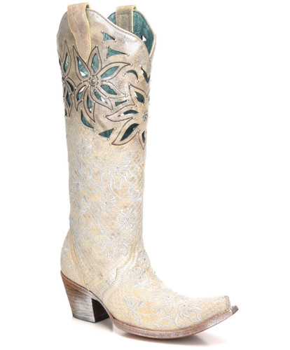 Corral Beige Silver Embroidery Floral Cut Out and Studs C3346