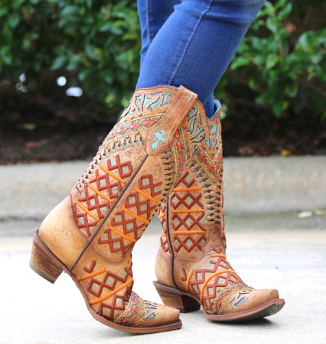 Corral Straw Inlay Embroidery Studs Boots C3284 Photo