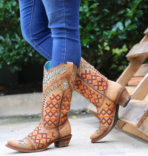Corral Straw Inlay Embroidery Studs Boots C3284 Side