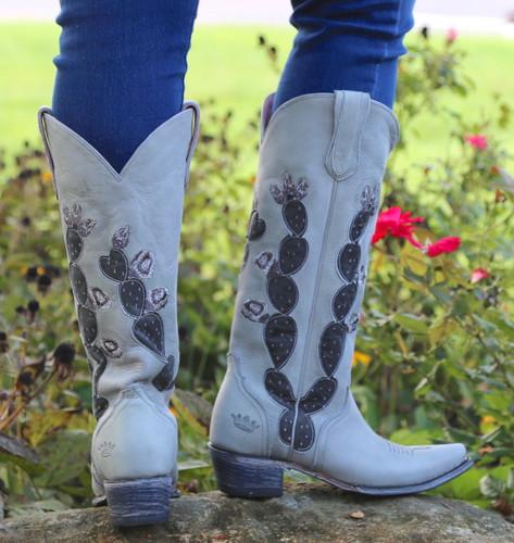 Junk Gypsy by Lane Hard To Handle Grey Cactus Boots JG0012D Heel