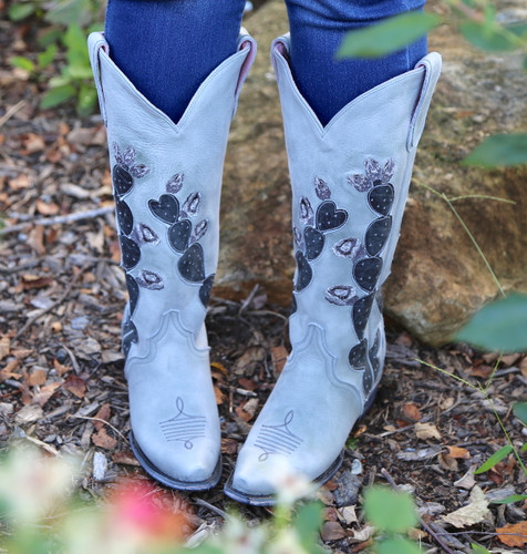 Junk Gypsy by Lane Hard To Handle Grey Cactus Boots JG0012D Toe