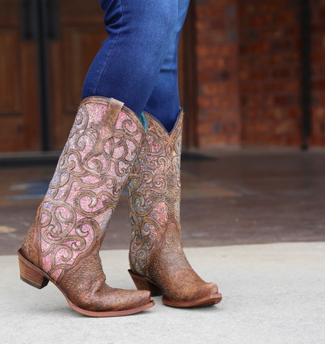 Corral Cognac Purple Glitter Inlay Studs Boots C3467 Picture