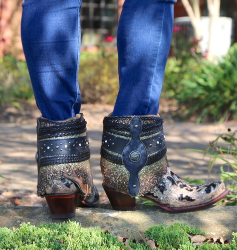 Corral Brown Glitter Flipped Shaft Ankle Boot A3691 Heel