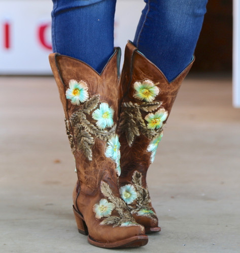Corral Tobacco Hand Painted and Floral Woven Boots C3443 Picture