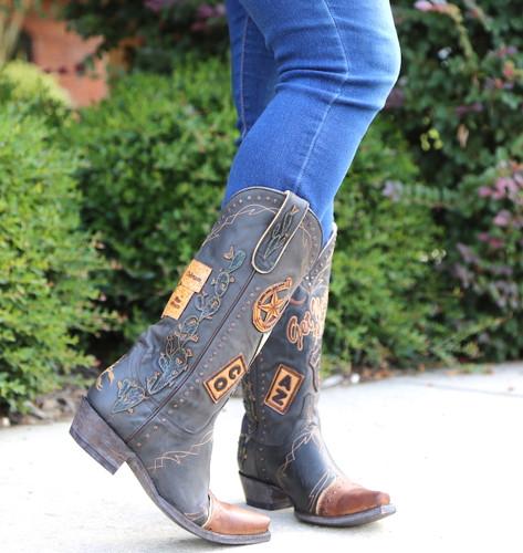 Old Gringo Route 66 Black Boots L3056-1 Toe