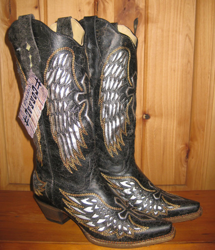 Corral Black Silver Wings and Cross Cowgirl Boots