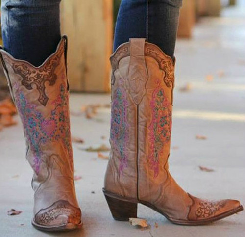 Corral Brown with Pink Heart and Lace Boots